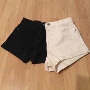 2 PAIR Stretch Denim Shorts ZARA